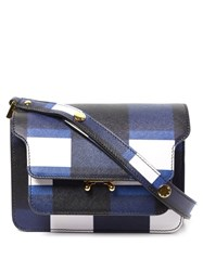 Marni Trunk Mini Check Print Leather Cross Body Bag Blue White