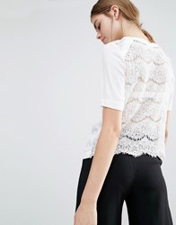 Suncoo Lace Back Silk T Shirt White