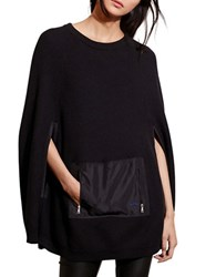 Lauren Ralph Lauren Cotton Crewneck Poncho Black