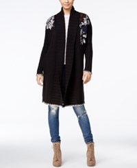 Guess Long Embroidered Cardigan Jet Black