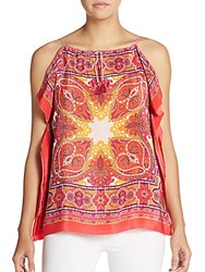 Robert Graham Ona Silk Paisley Flutter Side Top Coral Multi