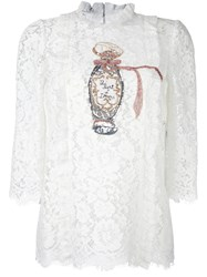 Dolce And Gabbana Embellished Lace Blouse White