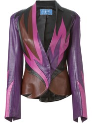 Thierry Mugler Vintage Flame Leather Jacket Multicolour
