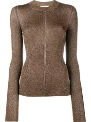 Christopher Kane Metallic Knit Crew Neck Sweater Brown