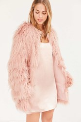 Kimchi And Blue Stella Shaggy Faux Fur Coat Rose