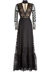 Elie Saab Floor Length Lace Dress With Belt Black