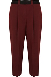 Jonathan Saunders Nadine Cropped Wool Straight Leg Pants Red