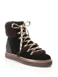 See By Chloe Eileen Suede And Shearling Lace Up Booties Black