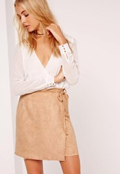 Missguided Faux Suede Tan Wrap Around Mini Skirt Brown