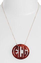 Women's Moon And Lola Large Oval Personalized Monogram Pendant Necklace Tortoise Gold Nordstrom Exclusive