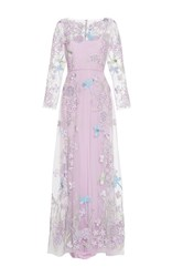 Luisa Beccaria Tulle Embroidered Maxi Dress Blue