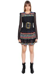 Philosophy Di Lorenzo Serafini Eyelet Lace And Printed Silk Dress