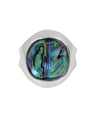 Robert Lee Morris Armored Architecture Faceted Abalone Silverplated Ring White