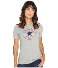 Converse Core Solid Short Sleeve Core Patch Crew Tee Vintage Grey Heather Women's T Shirt Gray