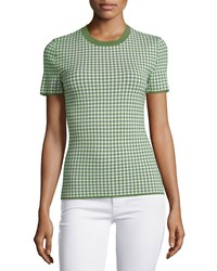 Michael Kors Collection Gingham Short Sleeve Tee Lawn Women's Size M