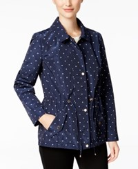 Charter Club Petite Water Resistant Hooded Dot Print Utility Jacket Only At Macy's Intrepid Blue Combo