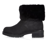 River Island Womens Black Faux Fur Lined Chunky Boots