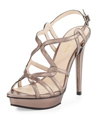 Pelle Moda Flirty Strappy Leather Sandal Pewter Silver