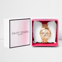 River Island Womens Daisy Dixon Rose Gold Tone Chain Watch