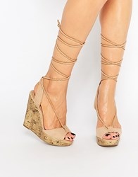 Call It Spring Treawen Ghillie Lace Up Wedge Sandals Nude Tan