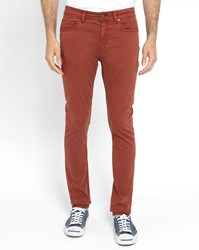 Knowledge Cotton Apparel Brick Red 5 Pockets Slim Fit Trousers In Organic