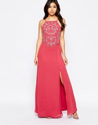 Maya Maxi Dress With Embellished Overlay Mauve Pink