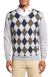 Bobby Jones Men's Argyle Merino Wool V Neck Sweater