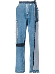 Tome Patch Wide Leg Jeans Blue