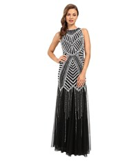 Adrianna Papell Halter Beaded Godet Gown Black White Women's Dress