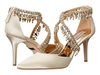 Badgley Mischka Glamour Ivory Satin High Heels Bone