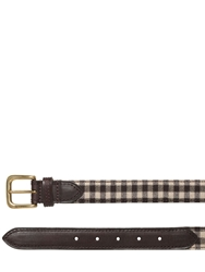 Etro 30Mm Gingham Wool And Leather Belt Brown Beige