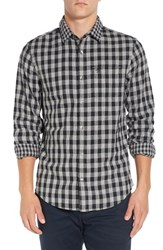 Original Penguin Men's Trim Fit Double Weave Gingham Shirt Rain Heather