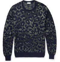 Dries Van Noten Leopard Intarsia Cotton Blend Sweater Navy
