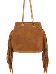 Saint Laurent Baby Bucket Suede Bag W Fringe