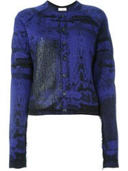 A.F.Vandevorst '161 Touareg' Intarsia Knit Cardigan Pink And Purple