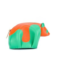Loewe Leather Panda Coin Purse Orange Green
