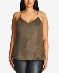 City Chic Plus Size Faux Suede Racerback Tank Top Forest