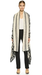 Prabal Gurung Cashmere Shawl Black White