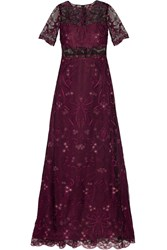 Marchesa Embroidered Tulle And Chiffon Gown Purple