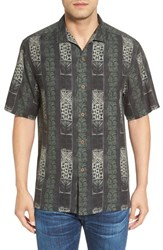 Tommy Bahama Men's Big And Tall Tropical Stripe Print Silk Camp Shirt
