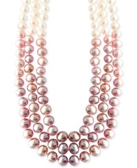 Macy's Cultured Freshwater Pearl 5 8Mm Ombre Three Strand Necklace In Sterling Silver Pink