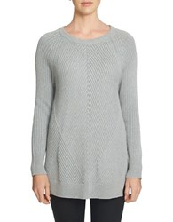 1.State Crewneck Multi Stitch Tunic Sweater Light Heather Grey