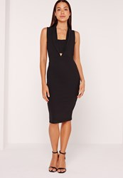 Missguided Collared Bandeau Plunge Insert Midi Dress Black Black
