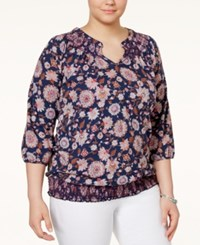 Lucky Brand Plus Size Smocked Floral Print Peasant Top Navy Multi