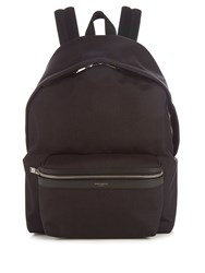 Saint Laurent Leather Trimmed Canvas Backpack Black