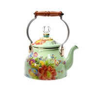Mackenzie Childs Flower Market Enamel Tea Kettle Green Small