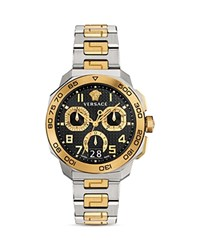 Versace Two Tone Dylos Chronograph 44Mm Black Gold