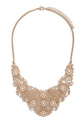 Forever 21 Floral Filigree Bib Necklace Clear Antic.G