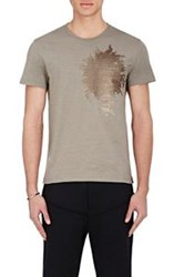 Alexander Mcqueen Men's Sequin Embellished T Shirt Brown