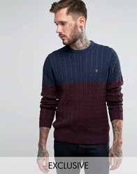 Farah Jumper With Cable Knit Exclusive Navy Bordeaux